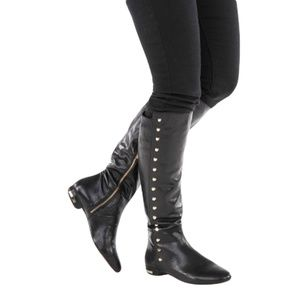 MICHAEL KORS AILEE Leather Flat Boots 5.5